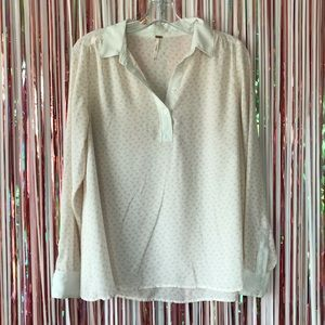 Free People horse print popover collared blouse XS